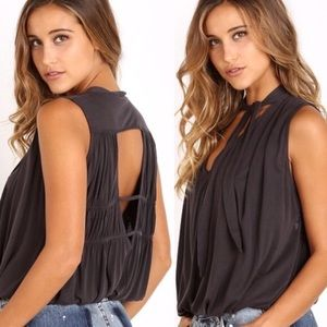 FREE PEOPLE Forget Me Knot Open Back Tank Top M/L